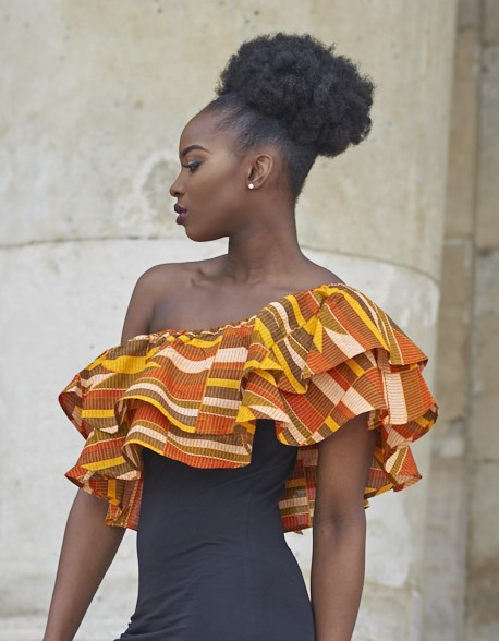 Robe Ati col bateau wax imprimé Kente orange LENADREAMS