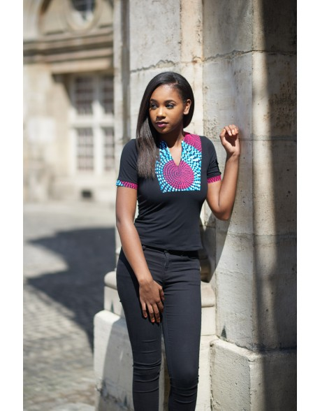 T-shirt Angelina blanc et rose wax imprimé Dashiki LENADREAMS