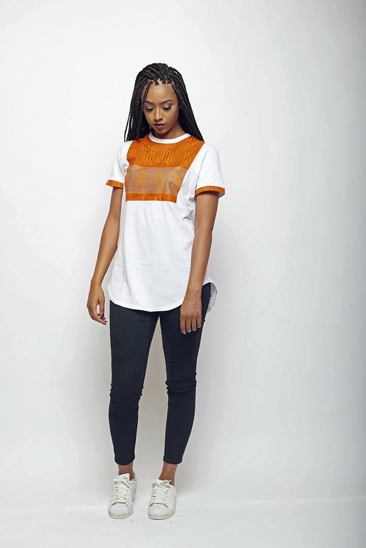 T-shirt oversize blanc wax imprimé kente orange LENADREAMS