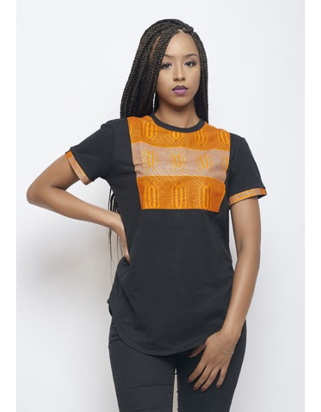 T-shirt oversize noir wax imprimé kente orange LENADREAMS