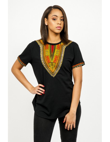 T-shirt oversized noir wax imprimé dashiki lenadreams